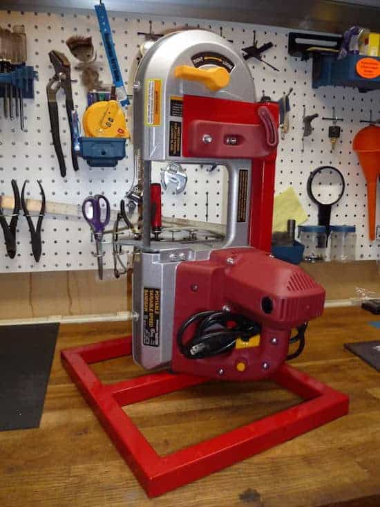 Clamps and addon tables can turn your portable into a vertical standing band saw