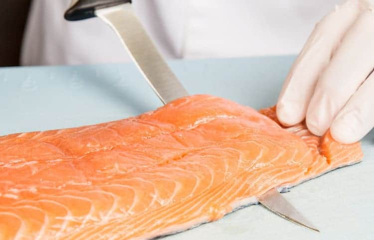 filleting with boning knife