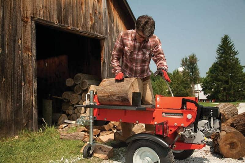 log splitter at work
