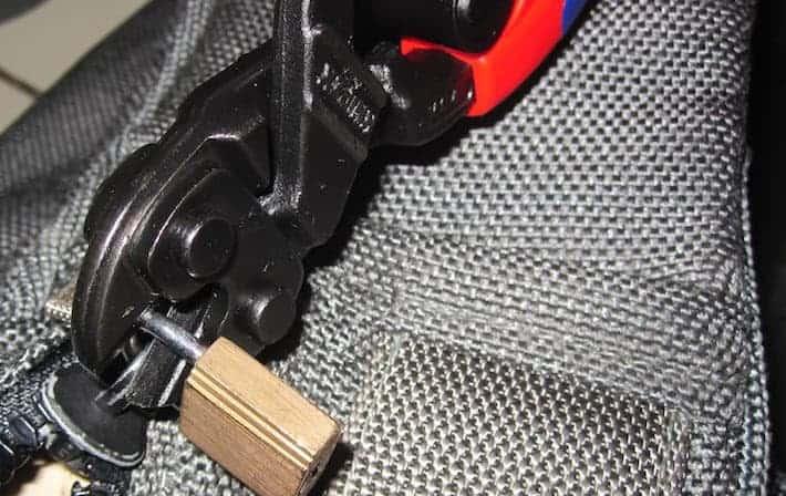 using bolt cutters