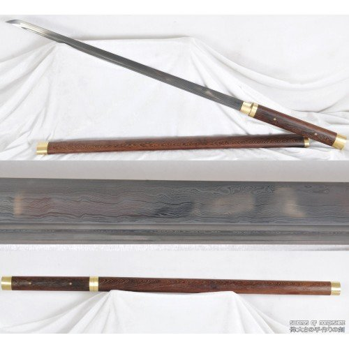 Damascus Folded Steel Straight Blade Huali Wood Shirasaya Samurai Ninja Sword (Hand-Forged)