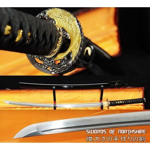Folded Steel Blade Samurai Sword Golden Crane Katana (Hand-Forged)