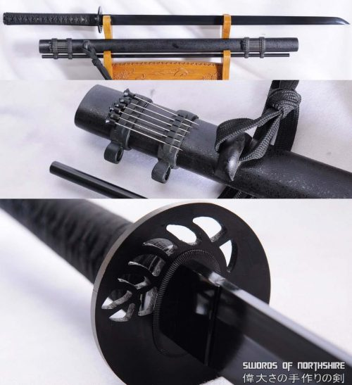 Ninjato for Sale | Black Folded Steel Blade Ninja Chokuto Sword with Blow Darts (Hand-Forged)