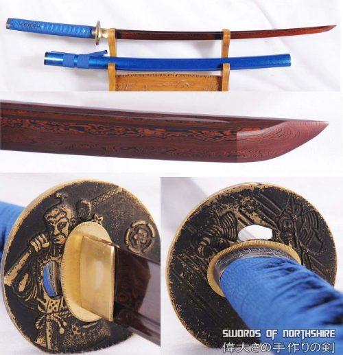 Red Folded Steel Blade Samurai Dragon Blue Warrior Katana Sword (Hand-Forged)
