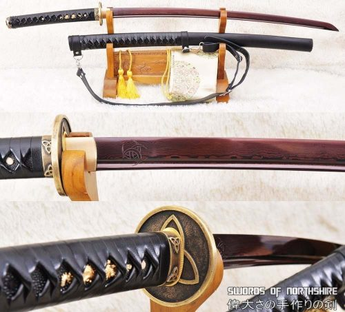 The Walking Dead Red Folded Steel Sharp Michonne Katana (Hand-Forged)