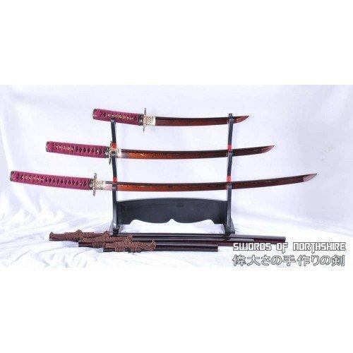 Red and Black Folded Steel Katana Wakizashi & Tanto Samurai Sword Set (Hand-Forged)
